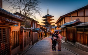 Picture city, lights, Japan, twilight, Kyoto, sunset, evening, street, people, houses, women, buildings, lamps, kimono, pagoda, ...