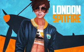 Picture the plane, glasses, jacket, art, Overwatch, tracer, lena oxton