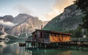 Wallpaper Conifers, Lake, Trees, Hut, Clouds, Landscape, Daylight, Dawn, Fir