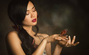 Picture girl, background, mood, butterfly, hands, makeup, Asian