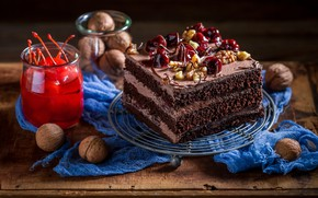 Picture cherry, cake, nuts, cream, sweet, chocolate