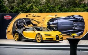 Wallpaper bugatti, yellow, black, chiron