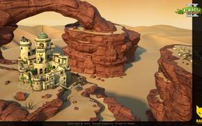 Picture rocks, desert, destruction, structure, kernel, CastleBuilder II, throwing weapon, Caratham