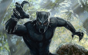 Picture forest, black, figure, mask, jungle, art, costume, claws, Black Panther, Black Panther