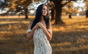 Picture touch, expressive, shoulders, lips, Margarita Shamanov, amazing, light, outdoor, meadow, bokeh, natural, beauty, Alexey Slesarev, …