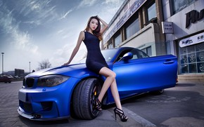 Picture look, Girls, BMW, Asian, beautiful girl, leaning on the car, blue auto