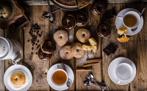 Picture tea, food, chocolate, pie, donuts, cinnamon, coffee beans, cakes, glaze, powdered sugar