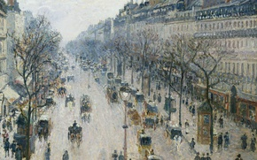 Wallpaper Camille Pissarro, The Boulevard Montmartre. Winter Morning, home, the urban landscape, picture, morning