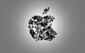 Picture black & white, Apple, Apple, minimalism, brand