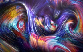 Picture wave, line, abstraction, background, colorful, Colorful Spiral Waves