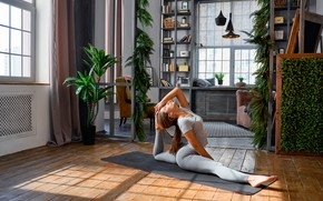 Wallpaper pose, room, interior, twine, flexible, brown hair, Mike, hairstyle, leggings, pigtail, girl, stretching, fitness, exercise, ...