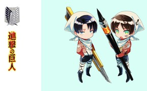 Picture characters, emblem, knife, brush, art, blue background, military uniform, chibiki, Eren Yeager, The Invasion Of …