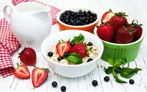 Picture berries, food, Breakfast, milk, blueberries, strawberry, pitcher, mint, muesli, Olena Rudo