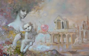 Picture heart, angel, arch, Surrealism, Lazarev I. A, sunken house