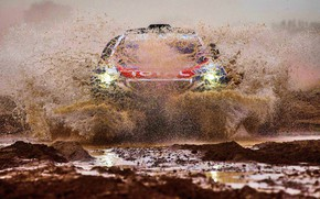 Picture Sand, 2008, Sport, Speed, Light, Race, Dirt, Peugeot, Squirt, Lights, Red Bull, Rally, Rally, Sport, …
