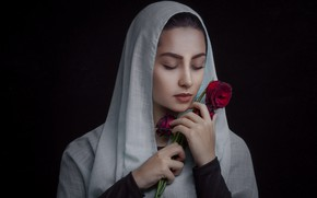 Picture girl, roses, Red Emotion