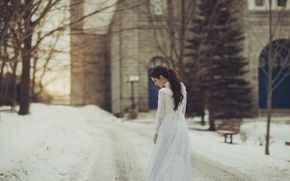 Picture winter, girl, hairstyle, tail, white dress, curls