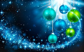 Picture snowflakes, background, holiday, balls, vector, green, Christmas, New year, blue