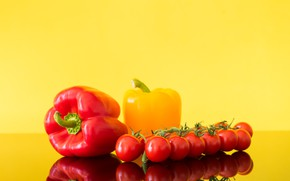 Picture yellow, red, pepper, tomatoes, tomatoes