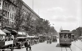 Picture retro, street, Washington, tram, USA, Capitol, car, 1919 year