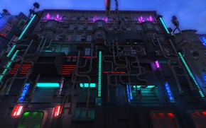 Picture the building, neon, Blade Runner Future City