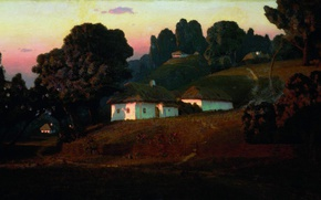 Picture trees, oil, hill, houses, Canvas, Arkhip KUINDZHI, Evening on the Ukraine