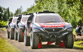 Picture 2008, Sport, Three, Race, Peugeot, Lights, Red Bull, Rally, Rally, Sport, The front, DKR, Peugeot …
