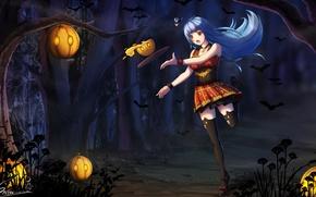 Picture girl, anime, art, pumpkin, Halloween, zhanjian shaonu