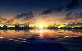 Picture sea, the sky, the sun, sunset, the city, by Y_Y