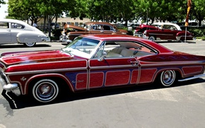 Picture The city, Street, Classic, Chevy, Impala, Lowrider, Lowrider, Retro style, Vintage car