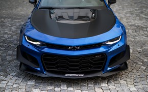 Picture blue, Chevrolet, 2018, the front part, Camaro ZL1 1THE