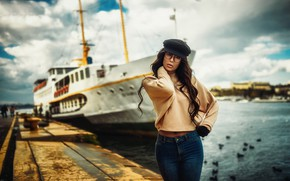 Picture pose, model, ship, Marina, portrait, jeans, makeup, figure, glasses, hairstyle, gloves, cap, brown hair, beauty, ...