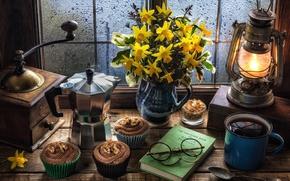 Picture coffee, window, sugar, still life, cream, daffodils, coffee grinder, muffin