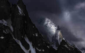Picture winter, light, snow, mountains, clouds, nature, the darkness