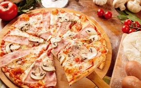 Picture mushrooms, cheese, pizza, tomato, ham