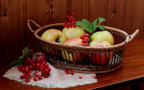 Picture leaves, table, basket, apples, berry, Rowan, napkin
