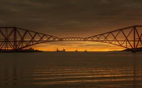 Wallpaper Scotland, South Queensferry, Sunrise, United Kingdom, Forth Rail Road Bridge