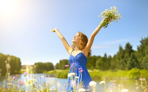 Wallpaper greens, summer, the sky, grass, girl, the sun, trees, joy, happiness, landscape, flowers, nature, chamomile, ...