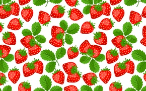 Picture leaves, red, berries, strawberry