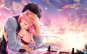 Wallpaper two, art, guy, romance, anime, girl, hug, Tsukisome well Kouki, Sen no Hatou