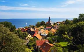 Picture sea, greens, the sky, trees, the sun, coast, home, yacht, Denmark, horizon, Bornholm