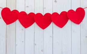 Picture Hearts, Garland, Wooden background