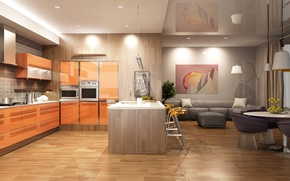Picture graphics, kitchen, Design, living room, Interior, Kitchen