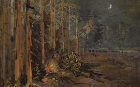 Picture trees, landscape, night, people, picture, Konstantin Korovin, The soldiers around the Forest Campfire