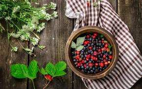 Picture summer, berries, raspberry, blueberries, strawberries