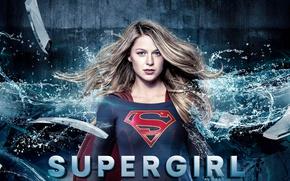 Wallpaper red, girl, logo, green eyes, dress, woman, blue, beautiful, singer, blonde, American, actress, DC Comics, ...