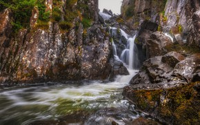 Picture stream, stones, rocks, waterfall, Wales