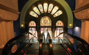 Wallpaper escalator, The Queen Victoria Building, stained glass, Australia, Sydney