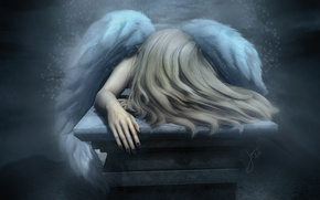 Wallpaper sadness, mood, hair, wings, angel