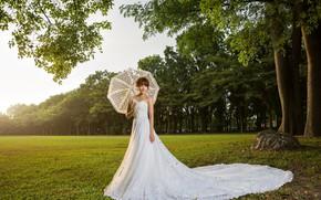 Picture Nature, Dress, Umbrella, The bride, Girl
